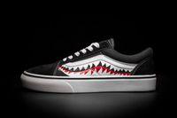 Wholesale Custom Board - 2017 New Men Women Sharktooth Custom Skate Board Shoes Ladies Unisex Lovers Fashion Canvas Sneakers 4.5-10.5