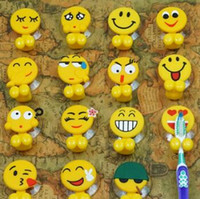 Wholesale Glass Shower Tiles - Toothbrush Holder Cute Emoji High Quality Strong Sucker Shower Room Ceramic Tile Glass Special Purpose Hot Sell 1 2ws F TOP1978