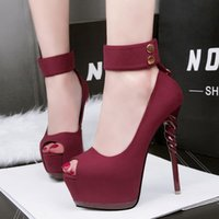 Wholesale Peep Toed Shoes Black Platform - woman shoes platform pump rivet high heels sandals rhinestone slide buckle peep toe black pink wine red gray green