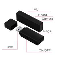 Wholesale mini spy camera recording - 1920*1080P HD Mini Spy Camera Portable USB Flash Drive U Disk Hidden Video Recorder DV Camcorder with Audio Recording