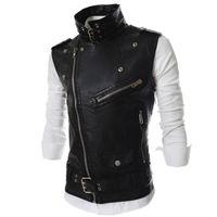 colete zip homens venda por atacado-Atacado-Hemiks homens motocicleta colete lapela multi-zip com cinto PU motociclista colete jaqueta sem mangas