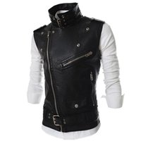Wholesale leather belt jacket men - Wholesale- Hemiks Men's Motorcycle Vest Lapel Multi-Zip Belted PU Biker Waistcoat Sleeveless Jacket