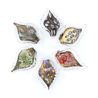 Wholesale grace boxes - Grace Lampwork Murano Pendants Leaf Shaped Millefiori Glass Charms Pendant Made By Hand MC0093 12pcs box