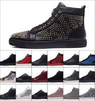 Wholesale Cheapest Blue Suede Shoes - The Cheapest red bottom sneakers for men with Spikes black suede fashion casual mens shoes, 2017 men leisure trainer footwear Eur 35--46