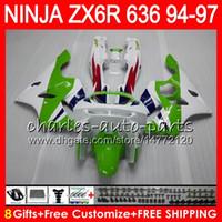 Wholesale Ninja Kawasaki Fairings 1996 - 8Gifts 23Colors For KAWASAKI NINJA ZX636 ZX6R 94 95 96 97 ZX-6R ZX-636 33HM1 600CC ZX 636 ZX 6R 1994 1995 1996 1997 Fairing kit Green white