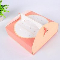 Wholesale Paper Box Pizza - 20.5*20.5*6.5cm Dot Pattern Pink Card Paper Gift Box With Handle Packing Box for Muffin Pizza Cake Dessert ZA3881