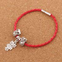 leather lucky charm bracelets großhandel-Lucky Owl Leder Woven Woven europäischen Charme Armband 20pcs / lot Silber überzogene Clip Clasp Armband Weihnachten Armreif 8