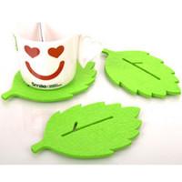 Wholesale Tea Cups Felt - 3PCS Fashion leaf-shaped Tea Cup Coaster Heat Insulation Felt Mat Table Decor