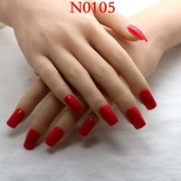Wholesale False Finger Nail Red - Wholesale- 2016 24pcs New popular Rectangular section Candy color solid color false nails Orange red M 0105
