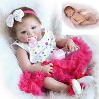 Wholesale Dolls Bottles - 22inch Girl Doll Handmade Full Body Vinyl Reborn Baby Soft PP Cotton Newborn Kids Gift Toy