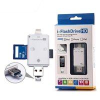 Wholesale 3 in iFlash Drive USB Micro SD HC TF Card Reader Writer for iPhone S Plus iPad Itouch All Android Cellphones