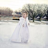 Wholesale white fur hooded cape wedding resale online - Custom Made Lovely Girls Cape Kids Wedding Cloaks Faux Fur Jacket For Winter Kid Flower Girl Children Satin Hooded Child Coats