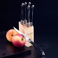 Wholesale Flatware Set Black - 6pcs 9inch Black Laguiole Style Stainless Steel Steak Knives in Wooden Base Classical Black Cutlery Stainless Steel Flatware set
