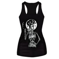 Wholesale sexy skull tank tops - Clothing New 2016 Women T-Shirt Black Vest Tops 3D Print Ribs Skull Bone Camisole Knitted Polyester Horror Sexy Tank Top
