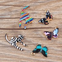 Wholesale Animal Jewelry Findings - 10pcs lot Newest Colorful Animal Cat Butterfly Enamel Gold Tone Alloy Charm Oil Drop DIY Bracelet Necklace Jewelry Finding