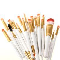 Wholesale Golden Pro - Wholesale-Pro 20Pcs Makeup Brushes White and Golden Colors Set Powder Foundation Eyeshadow Eyeliner Lip Brush Tool free shipping