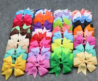 Wholesale Solid Hairbows - Baby Girl Grosgrain Ribbon Hair Bows Children Hair Accessories Baby Hairbows Girl Hair Bows With Clip Barrettes