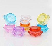 hautpflegegläser großhandel-2g 3g 5g bunte rautenform leere kosmetische behälter schraubverschluss probe behälter glas hautpflege cremetiegel topf dosen