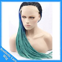 Wholesale Three Tone Lace Front Wigs - Cosplay Wigs Braided Lace Front Wigs 1b Blue Green Three Tone Synthetic Lace Front Wig Ombre Glueless Braided Synthetic Wigs Heat Resistant