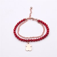 Wholesale Wholesale Coral Beaded Jewelry - Korean version of the new hot Coral Bracelet series bear rose gold jewelry