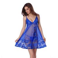 Wholesale Night Gowns Sleep - Wholesale- 2017 Sexy Nightgown Night gown Sleep dresses Women Sleeping Dress and String Set Deep V Sleepwear Lingerie XXL XXXL