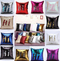 Wholesale Embroidered Pillow Cover Cushion - 23 design Sequin Mermaid Pillow Case cover Reversible Sofa Cushion Cover Magic Pillow Covers Cafe Home Décor 50pcs KKA983