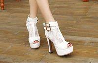 Wholesale Bridal Peep Toe - Sheer Lace high Heel Wedding Bridal Shoes 13 cm Lady Summer Ankle Boots Women Peep Toe Shoes 2017 Fashion Night Club Black Boots