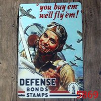 Wholesale War Poster - World War II Tin Sign Aircraft Revolution Metal Painting 20*30cm Retro Poster Tin painting Ktv Bar House Decoration Vintage Signs