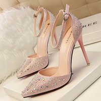 Wholesale Pink Brand Bridal Shoes - Brand bridal wedding shoes sexy pointed toe rhinestone thin heel shoes fashion pink ankle strap stiletto heel dress shoes 305-3
