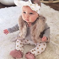 Wholesale love child baby clothes resale online - Infant Tops Pants Love Pattern Headband Baby Girl Outfit Set Clothing Kid Children Baby Girls Clothes Long Sleeve