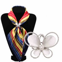Wholesale Brooch Pin Clip Silver - Wholesale- Imitation Gold Silver Pleated With Rhinestone Butterfly Wedding Brooch Scarf Clips Lapel Pins Women Fashion Jewelry Accessories
