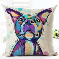 Wholesale gray orange bedding for sale - Painting Pop Dog Pillow Covers for Home Sofa Car Bed Cotton Linen Cartoon Cushion Covers D Dachshund Pillowcase European Throw Pillow Cases