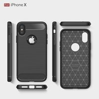 Non-Slip Anti-Knock Luxury Brushed Texture Carbon Fiber Case для Apple iPhone x DH1700063