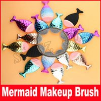 Wholesale silver makeup brushes - New Mermaid Makeup Brush Powder Contour Fish Scales Mermaidsalon Foundation Brush Gold Rose Gold Silver Blue Black