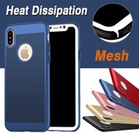 Wholesale Net Mesh Case - Mesh Heat Dissipation Phone Case Matte Ultra-thin Slim Porous Hard PC Net Grid Hollow Out Dot Back Full Cover For iPhone X 8 7 Plus 6 6S