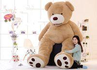 "Wholesale Big Teddy Bear 2m - Free Shipping 78"" 2M Big Teddy Bear Plush Toy Soft Giant Teddy Bear PP Cotton Huge Stuffed Brown Snuggle Bear toys Chrismas Valentine's Gift"