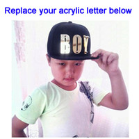 Wholesale hiphop boy snapback - Custom Hiphop 3D acrylic letters Kids Hats Bolted spikes rivets Acrylic snapback Children Caps wholesale Baseball Cap Adjustable Boys Girl