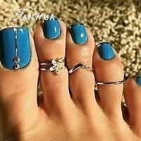 Wholesale Sexy Feet Set - 3 pcs set Sexy Finger Foot Jewelry Boho Chic Silver Color with Rhinestone Flower V Shape Toe Rings Body Jewelry