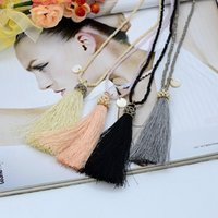 Wholesale Handmade Beads Statement - Wholesale- 45CM Fashion Necklace Statement Women Long Crystal Glass Beads Jewelry Handmade Bijoux Femme Bohemian Tassel 4 Colors Wholesale