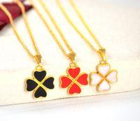 Wholesale Woman S Heart Link Chain - Drop oil Clover Heart - shaped pendant Necklace Women 's Clavicle Necklace Small Gift Necklace wholesale free shipping