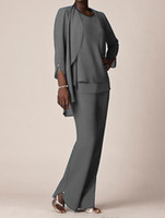 Wholesale grey chiffon sleeve dress - Grey Chiffon Formal Pant Suits For Mother Groom Dresses 2018 Evening Wear Long Mother of the Bride Dresses With Jackets Plus Size Custom