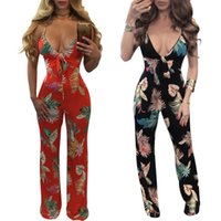 Wholesale Strapped Knot - 2017 The New European And American Style Rompers Printed Butterfly Knotted Straps Jumpsuits Fashion Women's Clothing