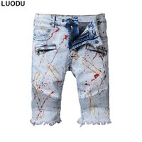 Wholesale stretched oil paintings - Wholesale- New France Style #1708# Mens Oil Painted Stretch Moto Shorts Pants Tassel Opening Blue Biker Jeans Slim Shorts Jeans Size 30-42
