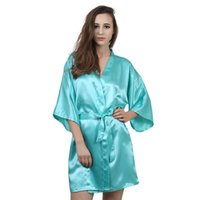 ingrosso abito di raso blu per le donne-All'ingrosso-New Robin Solid Robin Primavera Estate Sexy Nero / Azzurro / Rosa / Bianco Robes Donna Accappatoio in poliestere Robe Femme