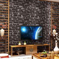 Wholesale Wood Pattern Vinyl - Retro Brick Wall Culture Stone 3D Imitation Brick Pattern Wallpaper PVC Waterproof Material Vinyl Wall Paper Wall Covering Roll