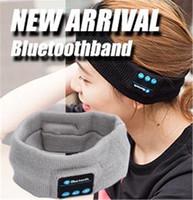 Wholesale Running Head Bands - bluetooth Headband Earphone For Yoga dancing running Sport Cap Headset Wireless Head Band Earplug Music Player Handfree Beanie B1073