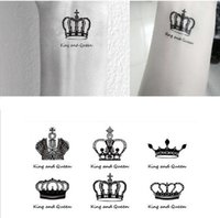 Wholesale temporary tattoo sticker sex - Wholesale- Free Shipping Sex you up King & Queen Clowns Wrist Finger Tattoos Stickers for Temporary Tattoo #r120