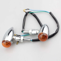 Wholesale Cg125 Motorcycle - Chrome Mini Bullet Turn Signal Light Amber Fits For Universal Motorcycle Motorbike CG125 GN125 Bobber Cafe Racer Chopper Custom