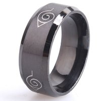 Wholesale Engagement Signs - 8mm brushed Naruto Konoha sign 316L Stainless Steel finger rings for men women wholesale