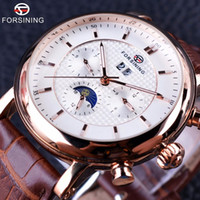 Wholesale Moon Watch Design - Forsining 2017 Luxury Rose Golden Series Moon Phase Calendar Design Clock Men Watch Top Brand Luxury Automatic Male Wrist Watch